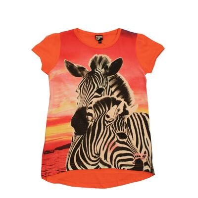 Kids-Up T-shirt Pink/Orange Zabra