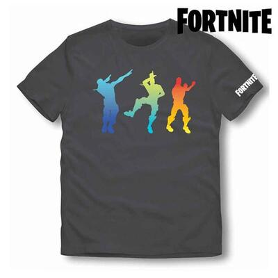 Fortnite kort t-shirt i sort med danse emotes