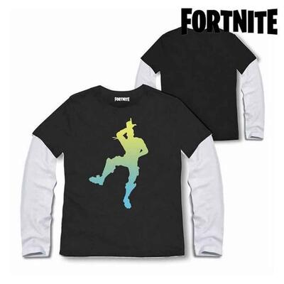 Fortnite t-shirt med lange ærmer i sort med dans emotes