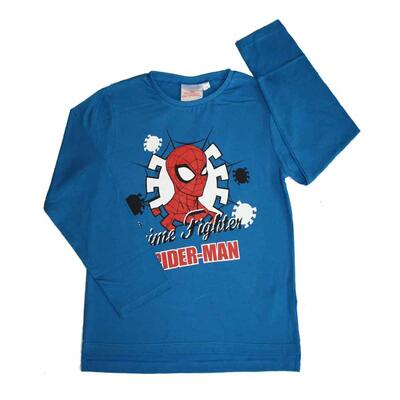 Langærmet Spiderman T-shirt i blå med taksten Crime Fighter