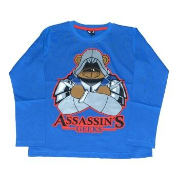 "Langærmet T-Shirt blå ""Assassin´s Geeks"" - KIDS-UP"