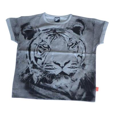 T-shirt gråmelange med tiger print - KIDS-UP
