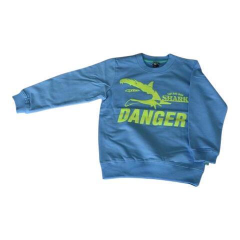 Sweatshirt blå med danger sharks - KIDS-UP