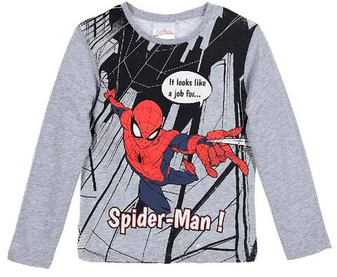 Langærmet Spiderman t-shirt i grå