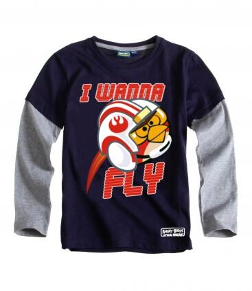 Star Wars Angry Birds - langærmet t-shirt blå