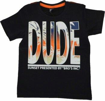 "Kortærmet T-shirt sort ""Dude"" - KIDS-UP"