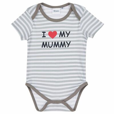 Body stribet Love Mummy i grå/hvid