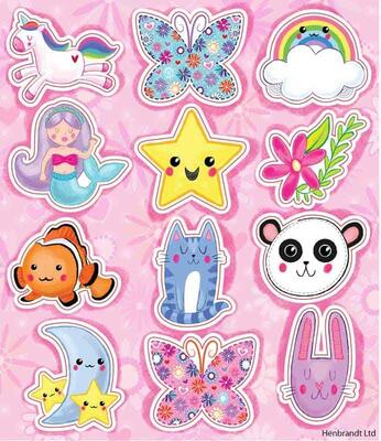 Cute Fun Stickers 12 stk