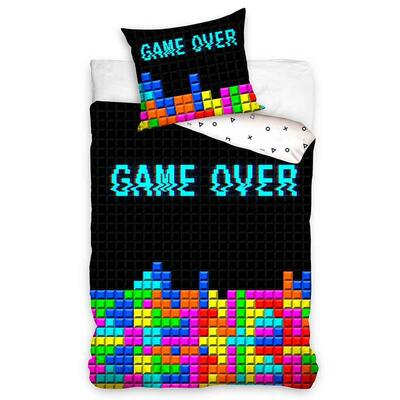 Gamer Game Over Sengetøj Sort 140x200