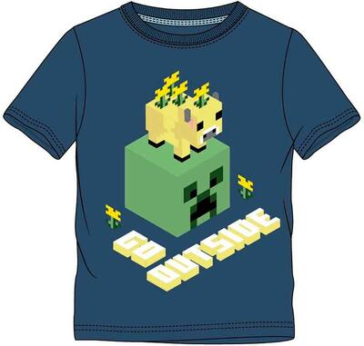 Minecraft T-Shirt Blå Go Outside