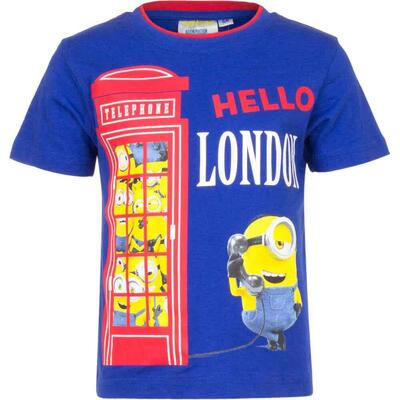 Minions T-shirt Kort Blå - Hello London
