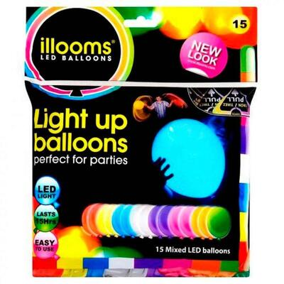 LED Balloner Mix 15 stk Pakke