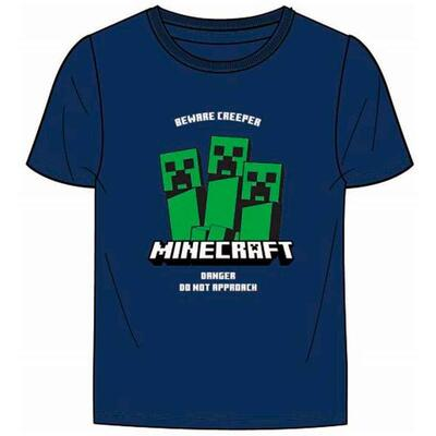 Minecraft Kort t-Shirt Navy Beware Creeper